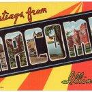 MACOMB, Illinois large letter linen postcard Teich
