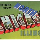 NORTH CHICAGO, Illinois large letter linen postcard Teich