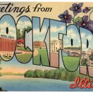 ROCKFORD, Illinois large letter linen postcard Teich