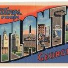 ATLANTA, Georgia large letter linen postcard Teich