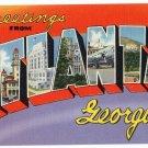 ATLANTA, Georgia large letter linen postcard Tichnor