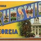 BRUNSWICK, Georgia large letter linen postcard Teich