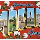 MACON, Georgia large letter linen postcard Kropp