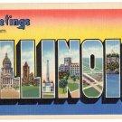 ILLINOIS large letter linen postcard Teich