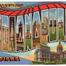 INDIANAPOLIS, Indiana large letter linen postcard Teich