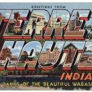 TERRE HAUTE, Indiana large letter linen postcard Teich