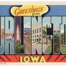 BURLINGTON, Iowa large letter linen postcard Teich