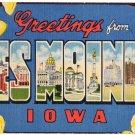 DES MOINES, Iowa large letter linen postcard Beals