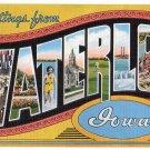 WATERLOO, Iowa large letter linen postcard Kropp