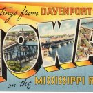 DAVENPORT, Iowa large letter postcard Tichnor