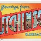 HUTCHINSON, Kansas large letter linen postcard Teich