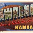LAWRENCE, Kansas large letter linen postcard Teich