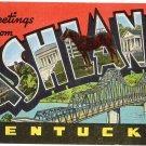 ASHLAND, Kentucky large letter linen postcard Kropp