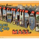 HARWICHPORT, Cape Cod, Massachusetts large letter linen postcard Teich