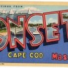 ONSET, Massachusetts large letter linen postcard Teich