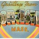 WORCESTER, Massachusetts large letter linen postcard Tichnor