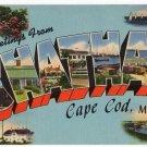 CHATHAM, Massachusetts large letter linen postcard Tichnor