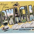 DOWAGIAC, Michigan large letter linen postcard Kropp