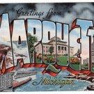 MARQUETTE, Michigan large letter linen postcard Kropp