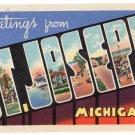 ST. JOSEPH, Michigan large letter linen postcard Teich