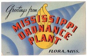 MISSISSIPPI ORDNANCE PLANT large letter linen postcard Colourpicture