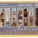 ANNAPOLIS, Maryland large letter linen postcard Dexter