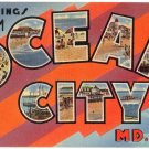 OCEAN CITY, Maryland large letter linen postcard Tichnor