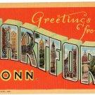 HARTFORD, Connecticut large letter linen postcard Teich
