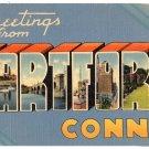 HARTFORD, Connecticut large letter linen postcard Tichnor