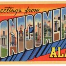 MONTGOMERY, Alabama large letter linen postcard Teich
