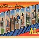 MONTGOMERY, Alabama large letter linen postcard Teich
