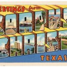 CORPUS CHRISTI, Texas large letter linen postcard Teich