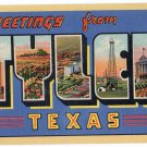 TYLER, Texas large letter linen postcard Teich