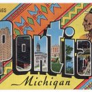 PONTIAC, Michigan large letter linen postcard Kropp