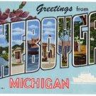 CHEBOYGAN, Michigan large letter linen postcard Teich