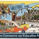ANN ARBOR, Michigan large letter linen postcard Kropp