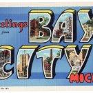 BAY CITY, Michigan large letter linen postcard Teich