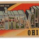 PAINESVILLE, Ohio large letter linen postcard Teich