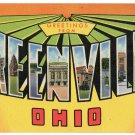 GREENVILLE, Ohio large letter linen postcard Teich
