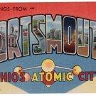 PORTSMOUTH, Ohio large letter linen postcard Teich