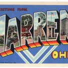 WARREN, Ohio large letter linen postcard Teich