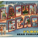 LAGUNA BEACH, Florida large letter linen postcard Teich