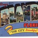 ORLANDO, Florida large letter linen postcard Teich