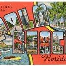 PALM BEACH, Florida large letter linen postcard Kropp