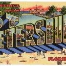 ST. PETERSBURG, Florida large letter linen postcard Teich
