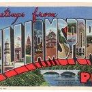 WILLIAMSPORT, Pennsylvania large letter linen postcard Curt Teich