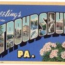 STROUDSBURG, Pennsylvania large letter linen postcard Curt Teich