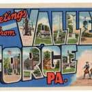 VALLEY FORGE, Pennsylvania large letter linen postcard Curt Teich