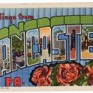 LANCASTER, Pennsylvania large letter linen postcard Teich