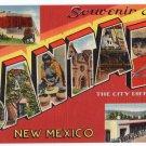 SANTA FE, New Mexico large letter linen postcard Tichnor